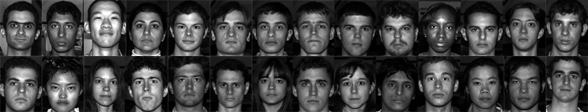 Images from the yale face database. (a) original data set. (b.